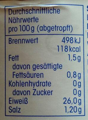 Thunfisch Filets In Eigenem Saft - Informations nutritionnelles - de