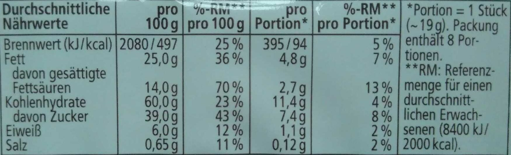 Cookies Double Choc - Nutrition facts