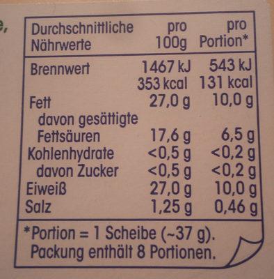 Maasdamer 45% Fett i. Tr. - Nährwertangaben