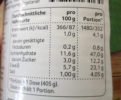 Chilli sin Carne - Nährwertangaben - de