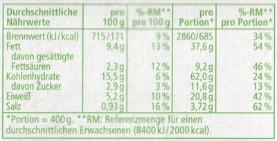 Gemüse Lasagne - Informations nutritionnelles - de