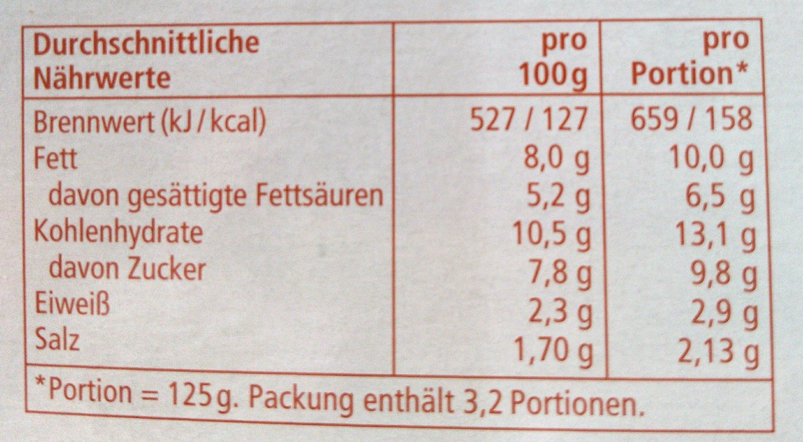 Pasta Sauce Tomate Sahne - Informations nutritionnelles - de