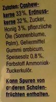 Cashew-Erdnuss-Mix mit Honig & Salz - Inhaltsstoffe