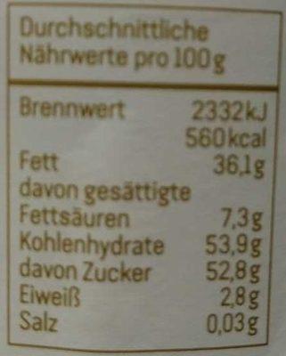 Dunkle Kakao Creme - Nährwertangaben