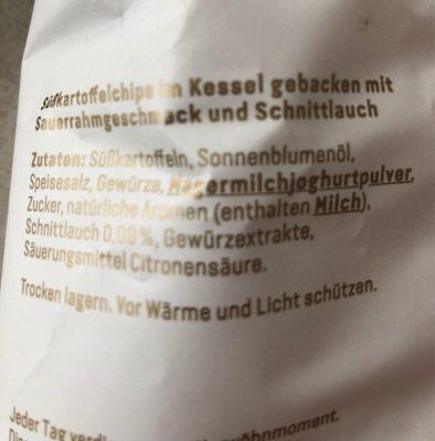 Süsskartoffel Chips - Inhaltsstoffe