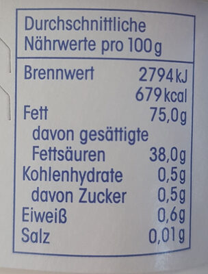 Streichgut - Nutrition facts