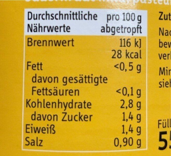 Sauerkraut - Valori nutrizionali - en