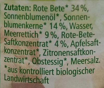 Streichcreme Rote Bete-Meerrettich - Ingrediënten
