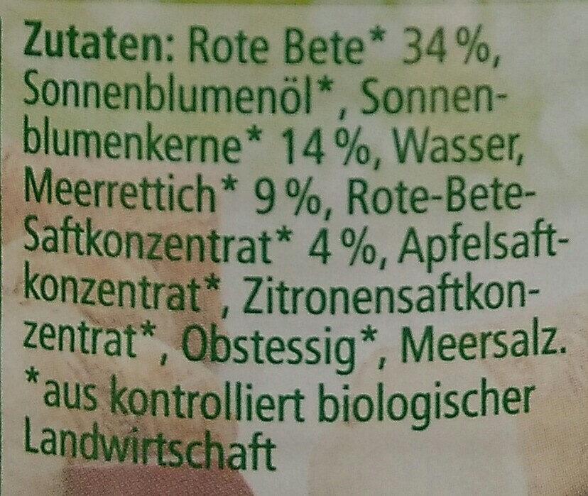 Streichcreme Rote Bete-Meerrettich - Ingrediënten - de