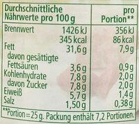 Streichcreme Rote Bete-Meerrettich - Voedingswaarden - de