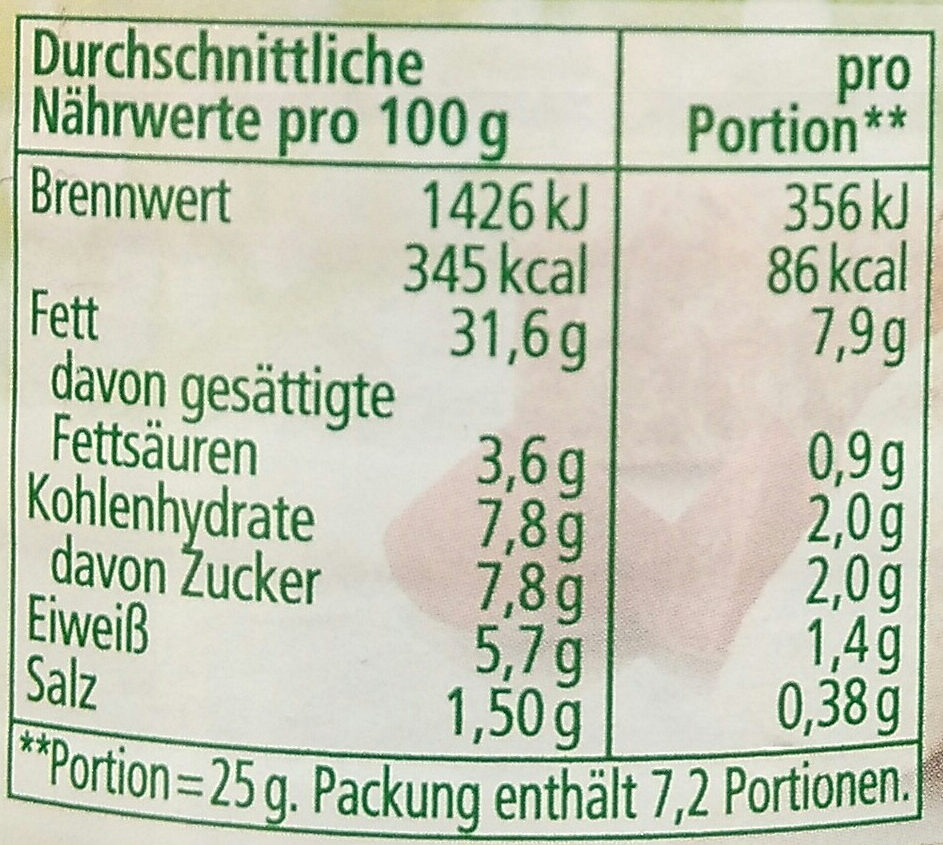 Streichcreme Rote Bete-Meerrettich - Informations nutritionnelles - de