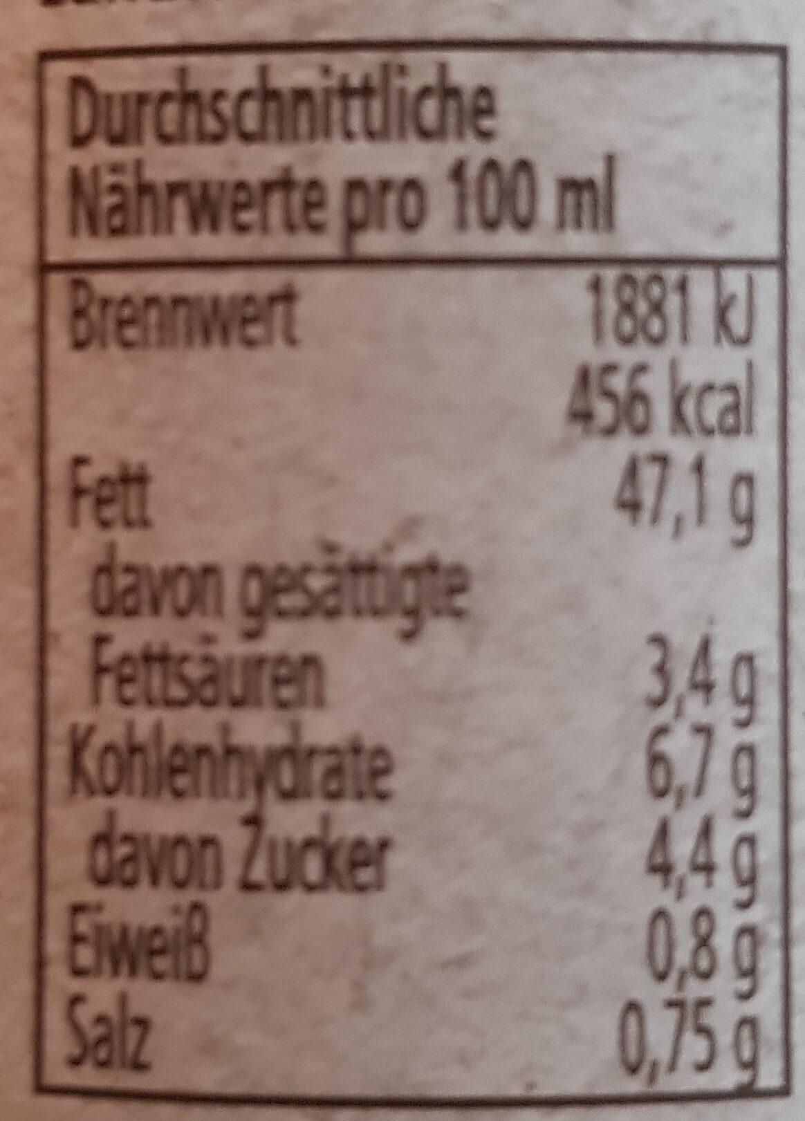 Vegane Salat-Mayonnaise - Nährwertangaben