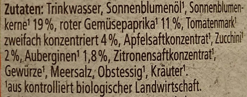 Bio-Streichcreme Paprika, Zucchini & Aubergine - Ingredients - de