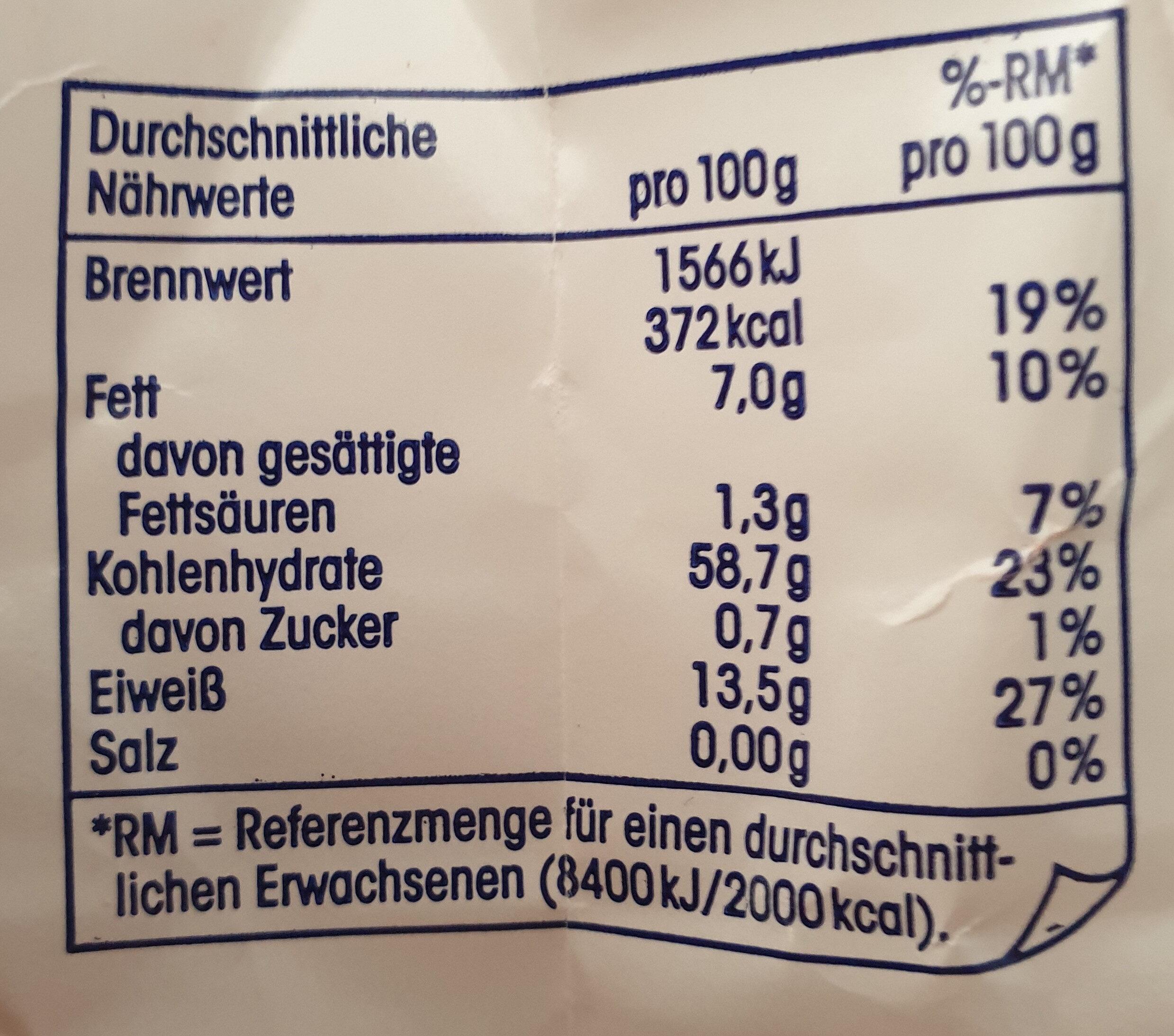 Zarte Haferflocken - Nutrition facts - de