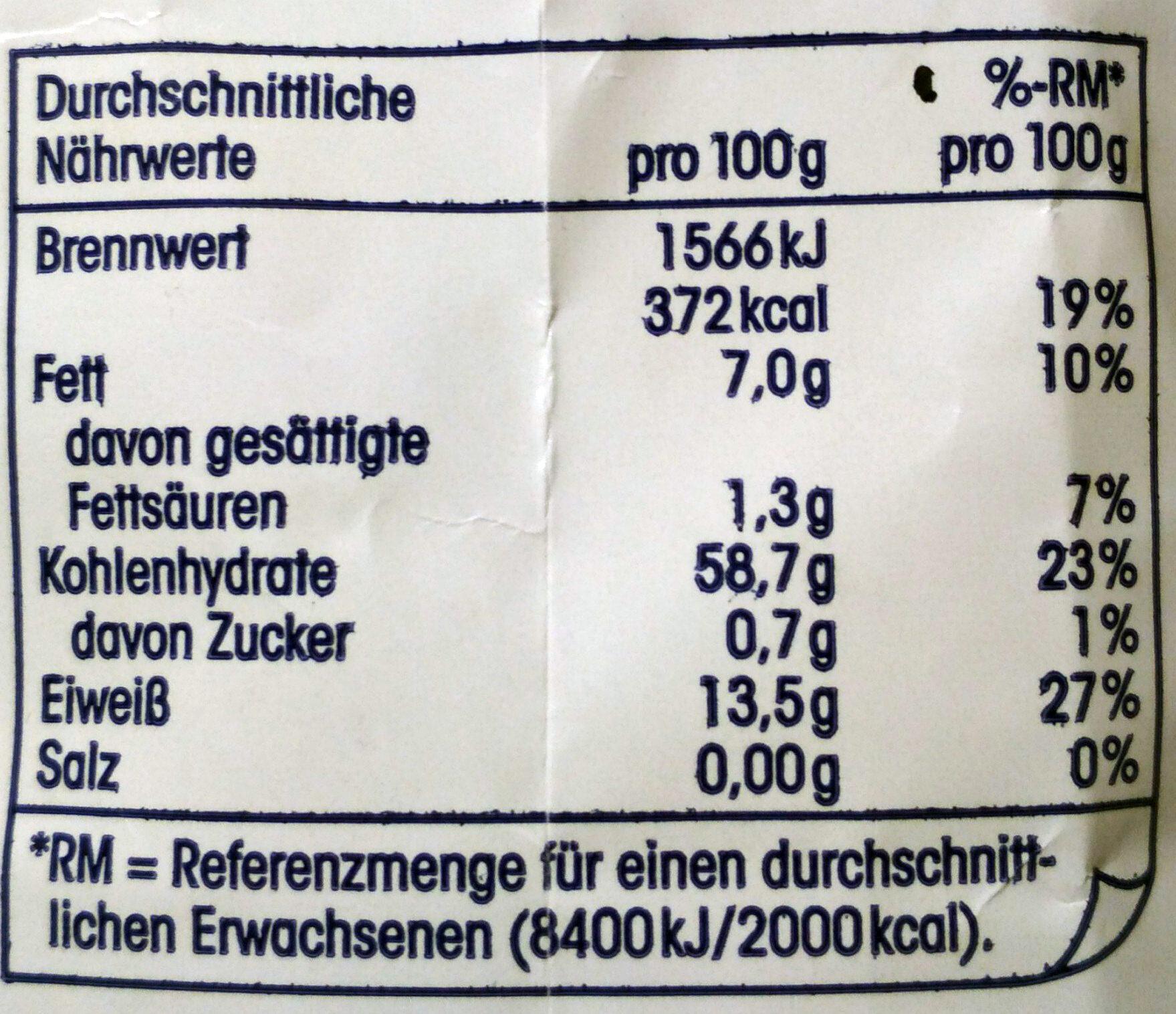 Kernige Haferflocken - Nutrition facts - de