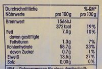 Kernige Haferflocken - Nutrition facts - de