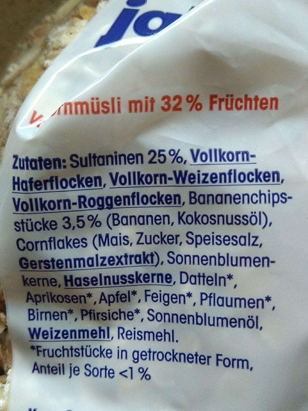 Ja! Früchtemüsli - Ingrédients - fr