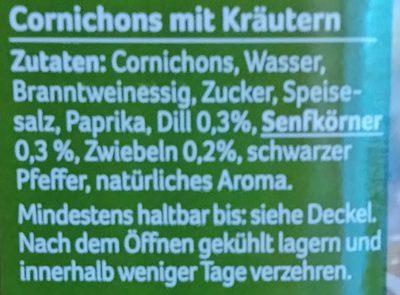 Cornichons mit Kräutern - Inhaltsstoffe