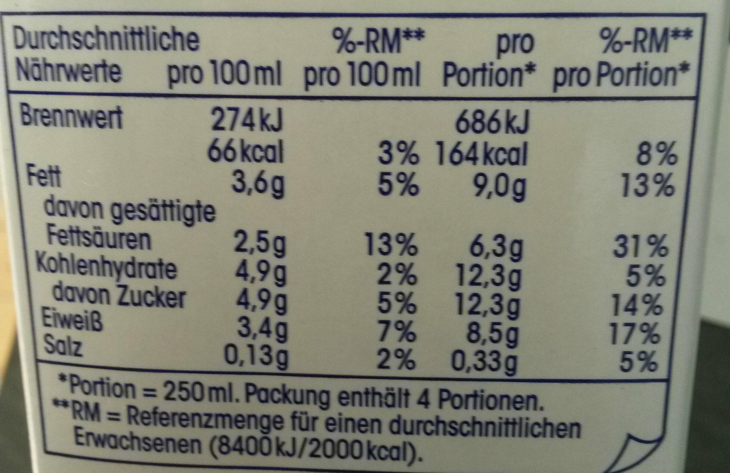 H-Milch 3,5% Fett Ja - Nutrition facts - de