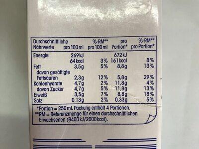 H-Vollmilch - Nutrition facts - en