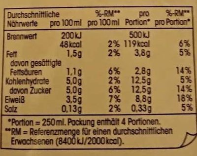 (V) Fettarme H-Milch - Nutrition facts