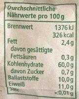 Weizen Vollkornnehl - Valori nutrizionali - en