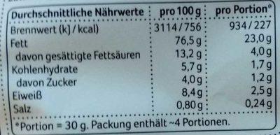 Macadamia ohne Öl geröstet & gesalzen - Informations nutritionnelles - de
