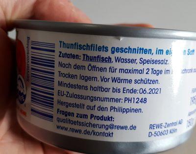 Thunfisch-Filets im eigenen Saft - Ingrédients - de