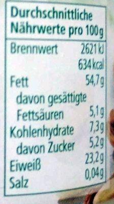 Mandelmus weiß - Nutrition facts - de