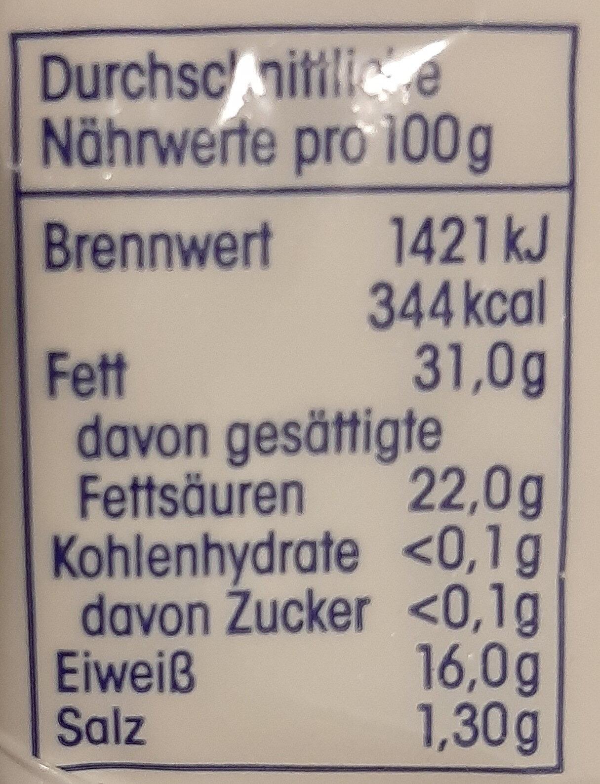 Französischer Weichkäse 60 % Fett i. Tr. - Nutrition facts - de