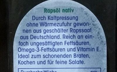 Natives Rapsöl - Ingredients - de
