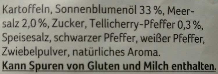 Kartoffelchips Meersalz & indischer Tellicherry Pfeffer - Ingrédients - de