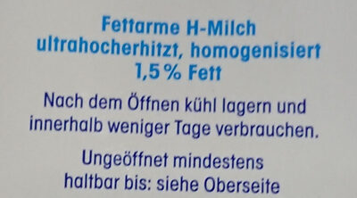Fettarme H-Milch 1,5% - Ingredients - de