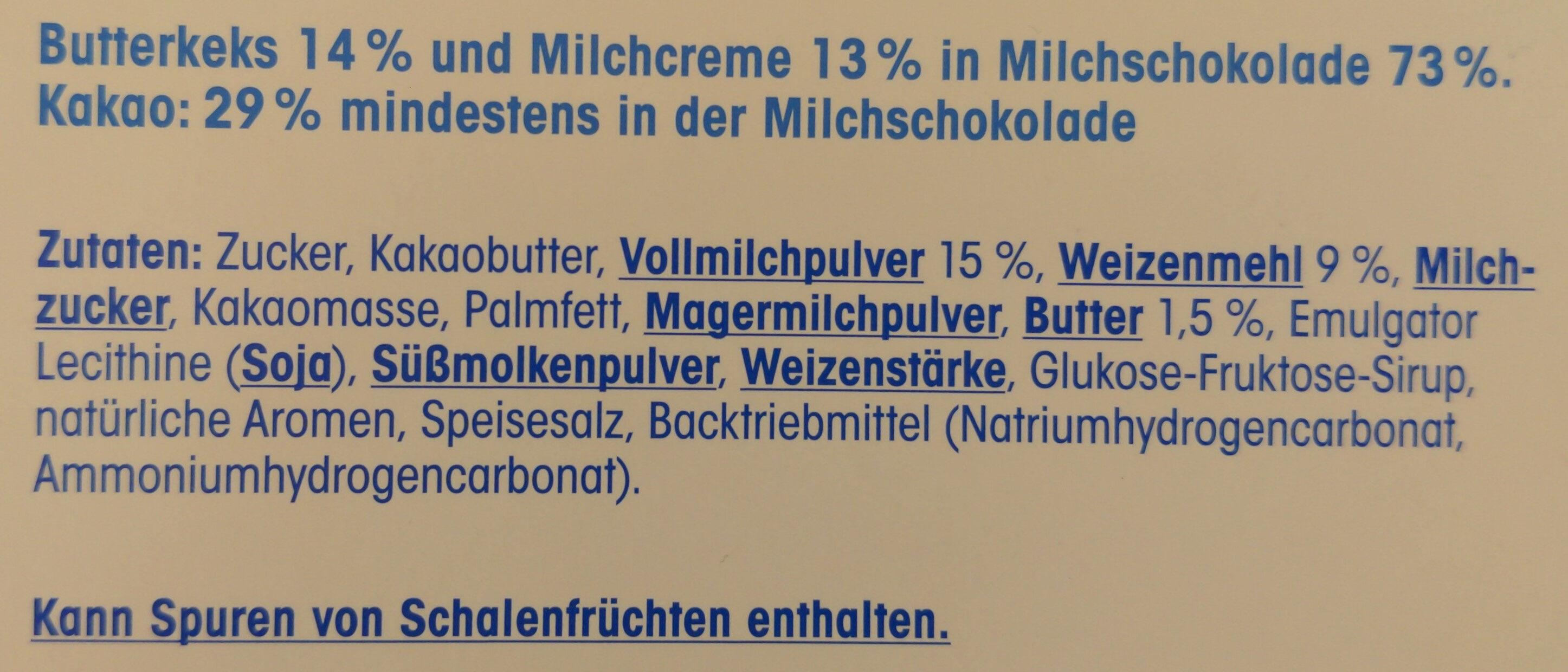 Schoko & Keks mit Milchcreme - Ingredients - de