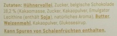 Belgisches Schokoladensoufflé - Inhaltsstoffe