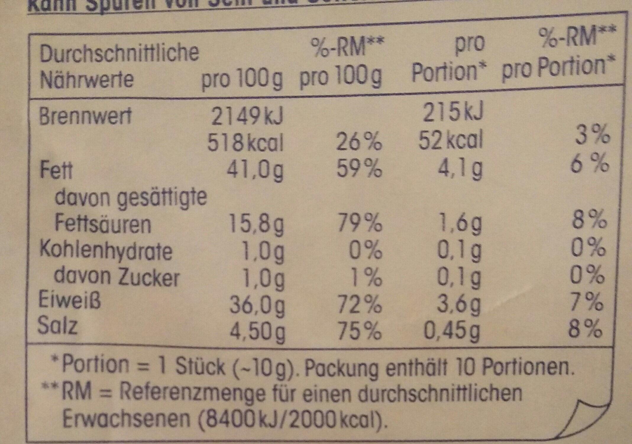 Salami-Sticks Minisalami Pikant - Nährwertangaben - de