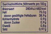 Ja! Streichgut aus Butter und Rapsöl gesalzen - Informations nutritionnelles