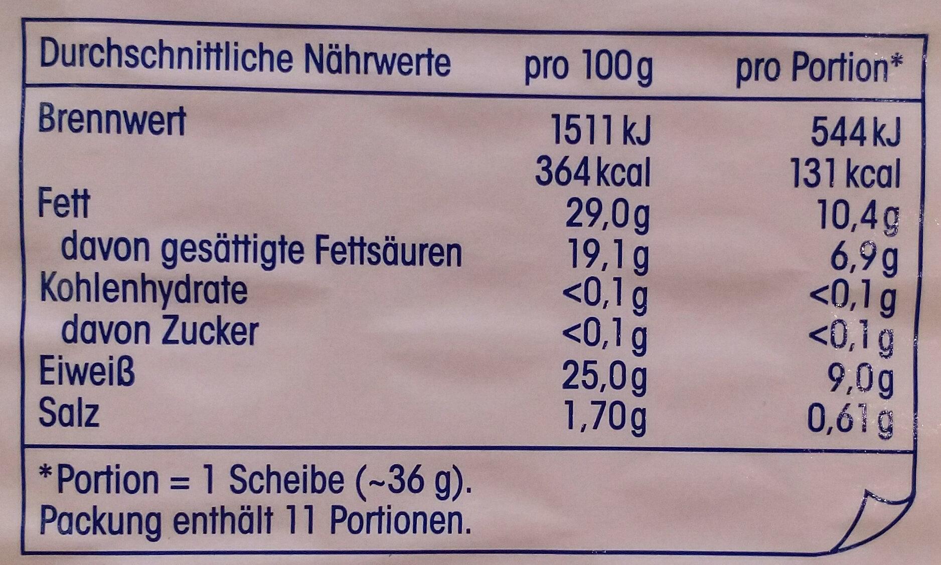 Gouda Jung - Nutrition facts - de
