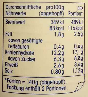 Mais - Nutrition facts - de