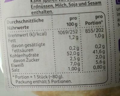 Pita Brottasche - Nährwertangaben