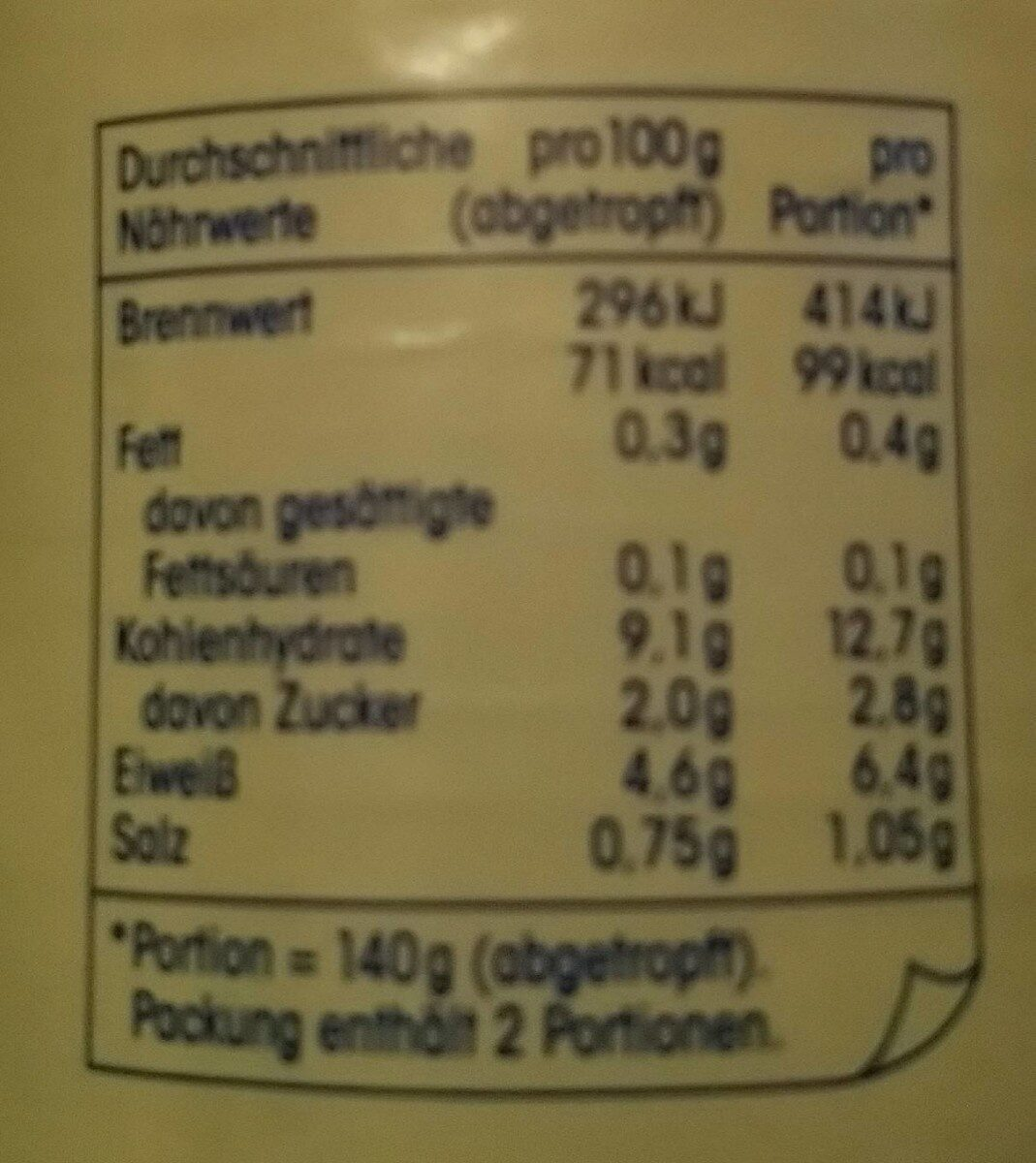 Erbsen sehr fein - Nutrition facts - de