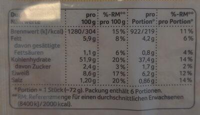 Tortilla Wraps,Weizen - Nutrition facts - en