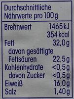 Französischer Weichkäse - Nutrition facts - de