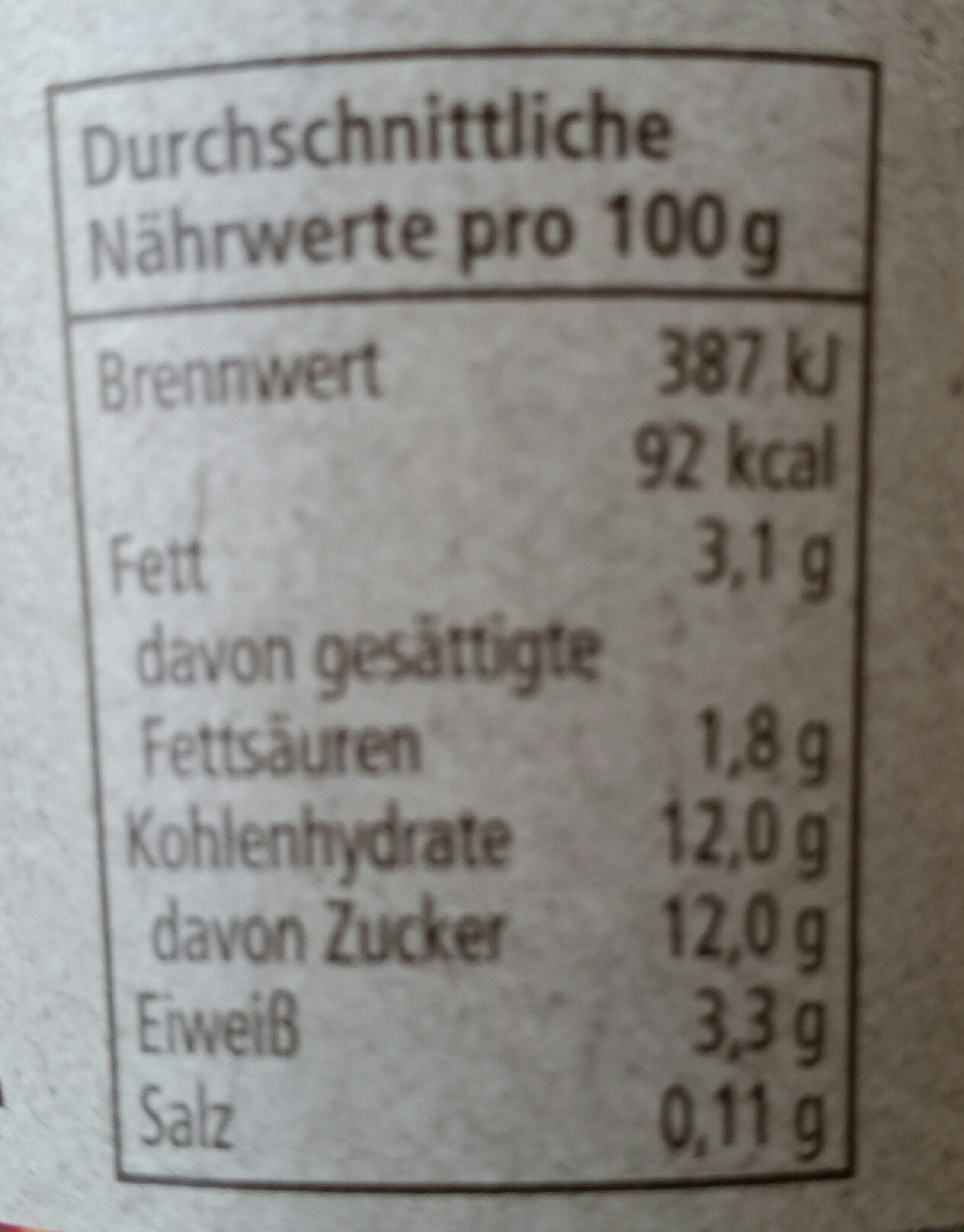 milder Joghurt Mango - Nutrition facts