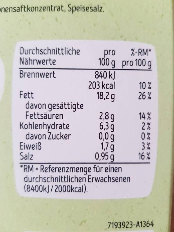 Guacamole - Informations nutritionnelles - es