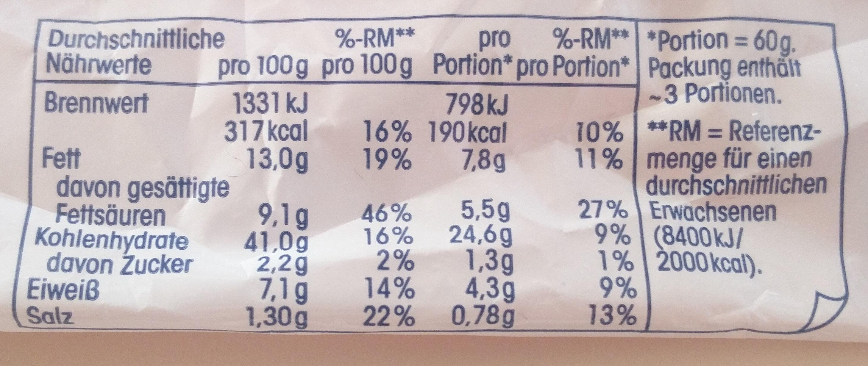 Kräuterbutter Baguette - Valori nutrizionali - de