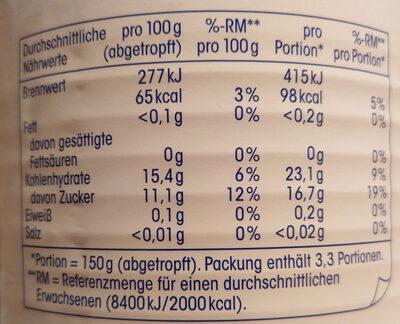 Ananas, ganze Scheiben leicht gezuckert - Informations nutritionnelles - de