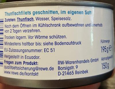 Ja! Thunfisch Filets im eigenen Saft - Ingrediënten - de