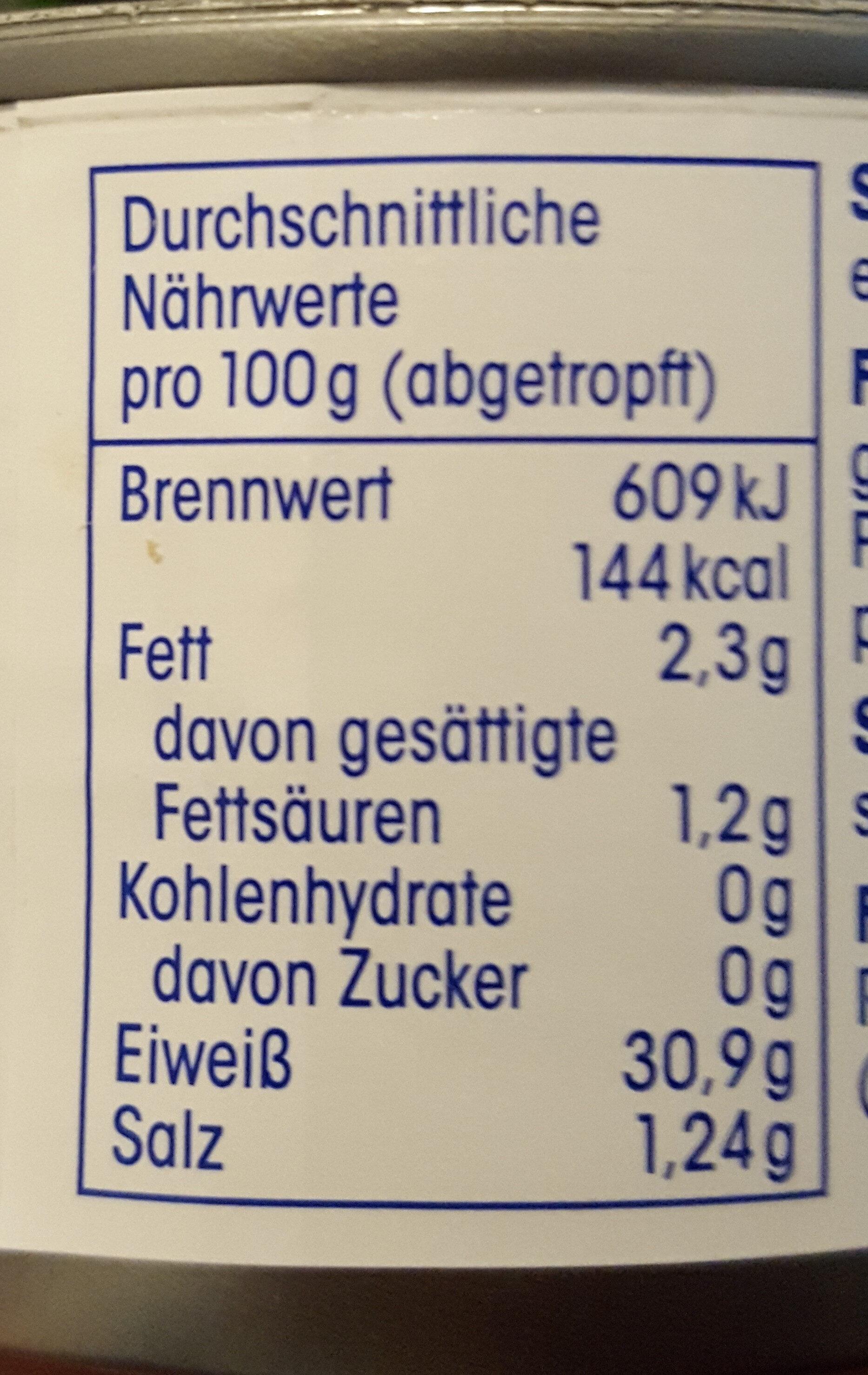 Ja! Thunfisch Filets im eigenen Saft - Voedingswaarden - de