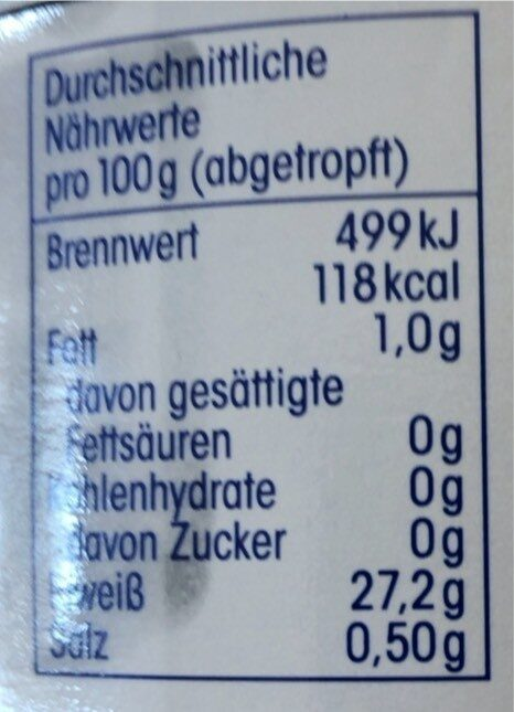 Thunfisch Filets im eigenen Saft - Nährwertangaben - de